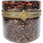 """Magnificent Vintage Murano Round Brown Bronze Hinged Box ~ Ornate Gilt Mounts & Large Ornate Lift Clasp """"LUSCIOUS"""""""