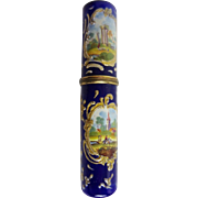 """GRANDEST Antique English Enamel Bodkin Case  Billet Doux  Beautiful Enamel with Four Scene"""""""