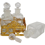 Antique France Scent Caddy ~ Four Magnificent Crystal Scent Bottles Resting in a Exquisite Fitted Gilt Ormolu Caddy ~ A Fabulous Scent Caddy from France for OVINGTON NEW YORK