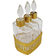 Antique French Scent EMPIRE STYLE Caddy with Beautiful Gilt Ormolu Holder ~ Three Exquisite Gilt Ormolu Collared Scent Bottles ~