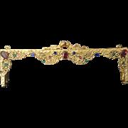 Pretty  Antique Jeweled Purse Frame ~ Jeweled &  Delicate Design of Gilt Ormolu Lace.