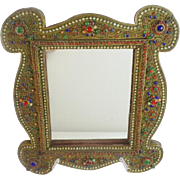 "GRANDEST  16"" Antique Jeweled Mirror ""Covered in Gilt Ormolu & Gems"""