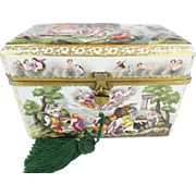 "9 ½"" Antique Capodimonte Casket Hinged Box…THE BEST! Putti, Dogs, Horses, Boar"