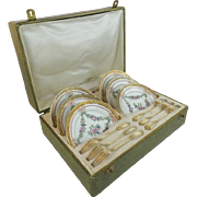 Antique French Mechun C. P. & Co. Porcelain Dessert Service in the Original Presentation Case