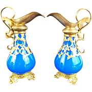 "PAIR Antique French Blue Scent Ewers ""EXQUISITE Gilt Ormolu Handle & Footed Base"""