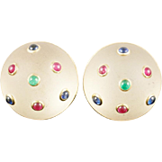 "14KARAT Frosted Crystal Earrings with Emeralds, Sapphires and Rubies….Earrings are Signed ""TRIANON"""