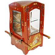 "Charming 19C Vernis Martin Style Miniature Sedan Chair or ""Chaise a Porteurs"" Vitrine"