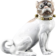 """WONDERFUL"" Antique Dresden Porcelain Pug with Beautiful Bells and a Bow Collar."