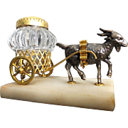 "Rare Grand Tour Goat Inkwell Cart ""EGLOMISE TOP"""