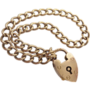 "Antique 9KARAT Heart Padlock Link Bracelet  English ""CHARMING"""