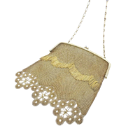 "Antique Gilt Silver Jeweled Handbag ""RARE & VERY FINE"" Appears Like 18K Gold!"