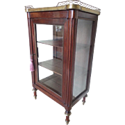 "Antique Miniature Vitrine Curio Cabinet""BRASS GALLEY"""