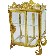 "Exquisite Antique French Miniature Curio Vitrine ""Stunning Shape & Gorgeous Gilt Ormolu"""