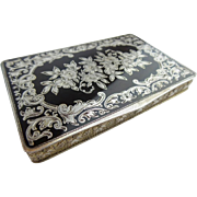 "Antique Austrian Sterling Silver Gilt and Black Enamel Hinged Box. ""MADE IN AUSTRIA,"" ""STERLING SILVER,"" ""717,"" (925 stamp),"