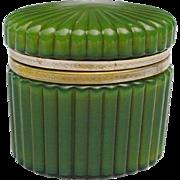 RAREST COLOR Antique Oval Green Casket Hinged Box w/ Fancy Mounts