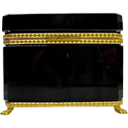 "Beautiful Antique French Black Opaline Casket Hinged Box  ""EXQUISITE Paw Feet"""