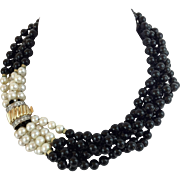 "EXQUISITE 16"" 14KARAT Yellow Gold, Diamond. Pearl, and Black Onyx ""ELEGANT"""