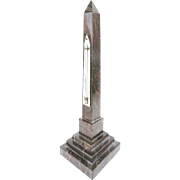 "RARE 14"" Grand Tour Marble Obelisk Thermometer Marked ""Negrett & Zambra London"""