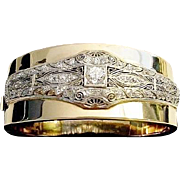 "Diamond Platinum &  14K Bangle Bracelet ""MAGNIFICENT"""