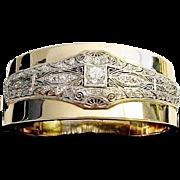 "Diamond Platinum &  14K Bangle Bracelet ""MAGNIFICENT"""
