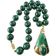 "Vintage Estate 17""  Malachite Necklace W/ Malachite Pendant  ""14mm Malachite Beads """