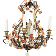 Beautiful Bronze & Polychrome Metal Five Light Chandelier with Porcelain Flowers and a Porcelain Bird  ~ A Wonderful &  Charming Chandelier~