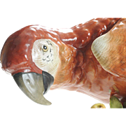 """17"""" Antique Porcelain Parrot Perched on a Stump ~ Applied Flowers ~  Beautiful &  BIG!   Weighs Over Ten Pounds"""