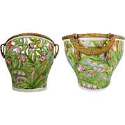 1907 German Von Schierholz Porcelain Reticulated Basket Cachepot  ~ Mounted in Gilt Bronze ~ Cachepot is Intricately Detailed with Open Work Floral Designs &  Awesome Colors ~