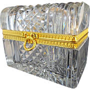 Antique French Cut Crystal Dome Top Casket Hinged Box ~Beautiful Ornate Mounts, Wreath & Bow Clasp