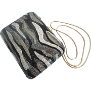 Amazing Vintage Estate Judith Leiber Crystal Minaudiere  in Black, Silver, &  Gold