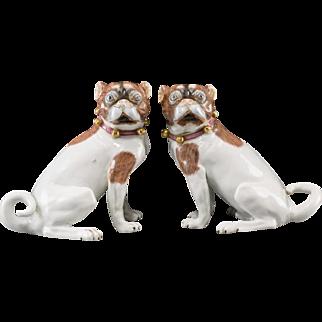 PAIR Antique Carl Thieme Dresden Porcelain Pugs  ~  Beautiful Bells &  Pink Bow Collar ~  Pair… A Matching Male & Female Pugs.