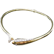 18KARAT Yellow Gold Diamond Hinged Dolphin Choker Necklace w Ruby Eyes