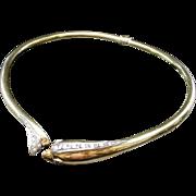 18KARAT Yellow Gold Diamond Hinged Dolphin Choker Necklace w Ruby Eyes