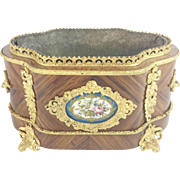 Charming Antique French Sevres Style Jardinière Planter with Double Bronze Handle~ Lovely Sevres Flora Porcelain Plaque.~ Beautiful Gilt Ormolu Footed Base