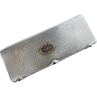 Charming Antique  Silver Jeweled Compact Box with Three Compartments & Enamel Plaque. ~Each of the Three Tops Open with a Lovely Cabochon Blue Gem Clasp ~ Gilt Interior. ~