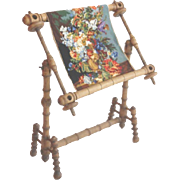 RARE & Magnificent French Wood Tapestry Loom with a Stunning Tapestry ~ Large &  Sturdy Wood Loom ~ All Original with a Beautiful Flora Tapestry Fitted in the Loom