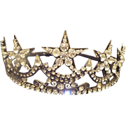 LARGE Theatrical Jeweled Crown. ~ 5 Big Rhinestones Stars Across the Top ~ Super Nice Quality  &  Good Weight.