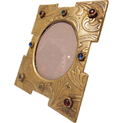 "Antique French Jeweled Picture Frame  ~ Beautiful Easel Back Table Top Bronze Jeweled Frame ~  Ready for Your 1 ¾""  x  1 ½"" Oval  Photo"