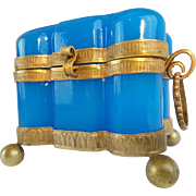 "19C French Blue Opaline Double Handle Hinged Box ~ Fabulous Bronze Mounts, Double Handles &  Footed Base "" Exquisite Shape & Beautiful Blue Opaline"""