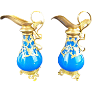 "19C Palais Royal  French Blue Scent Ewers ~ PAIR ~. EXQUISITE Gilt Ormolu Handle &  Footed Base ""Elaborate Gilt Ormolu & The BEST Bright Blue Opaline ""  Wonderful & Outstanding Condition"
