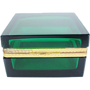 Antique Emerald Green Crystal Hinged Box ~ Ornate Gilt Mounts & Lift Clasp ~ Thick Crystal~  Exquisite Emerald Green ~ A BEAUTY from My Treasure Vault.