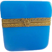 Beautiful  Antique French Opaline Casket Hinged Box  ~ Pretty Gilt Mounts &  Ornate Clasp ~ AWESOME  Blue Opaline