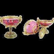 "19C Antique Moser Cranberry Hand Enamel Bowls  ""A PAIR"" Exquisite Gilt Bronze Mounts~ The Color, Enamel, & Mounts are Wonderful ~ A RARITY from My Treasure Vault."