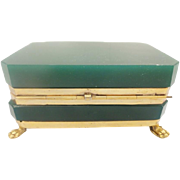 Antique French Opaline Hinged Box ~  Gilt Bronze Paw Feet ~ Rare Deep Emerald Green Opaline ~ MAGNIFICENT