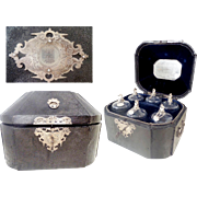 19C French Shagreen Scent Case   ~ EXQUISITE 6 Crystal &  800 Silver (Boar Mark)  Bottles  ~ Awesome Shagreen Leather Hinged Box ~ Must has been a Very Special Scent Case Box for a Very Special Lady!