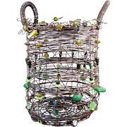 "Magnificent Vintage 16 ½"" Sally Prangley JEWELED Double Handled Basket   "" 5 Pounds""  ~Steel Wire & Jeweled Glass Beads ~ Four Spherical Millefiori Feet"