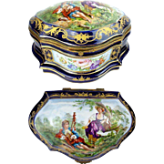 "Antique French Porcelain ""Masterpiece"" Magnificent Pastoral Scenes "" Artist Signed ""PRUFS"" ~  Scallop shaped with floral front panel, cobalt blue borders &  back with gold leaf floral decoration ~ Exquisite and Very Fine"