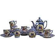 "Antique German Child's Tea Set ~ A Darling Tea Set in Mottled Blue & Purple "" Scenes of Children & Animals""  ~  6"" Teapot, Creamer, Sugar, 6 Cups,  6 Saucers &  6   4 ¾"" Desert Plates ~ SO Adorable!"