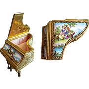 "LAYAWAY Tiny Antique  2 ½"" Austrian Enamel Piano~ Two Lovely Pastoral Scenes"