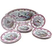 "Antique Austrian Fish Set  "" Austrian Transfer Fish Set""   Includes  a Stunning Platter &  12 Plates ~ Glorious Colors of Lavenders, Purples &  Burgundy with Awesome Green Tones ~  Just the Perfect Touch of Gilding"